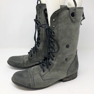 Steve Madden troopa gray combat boots